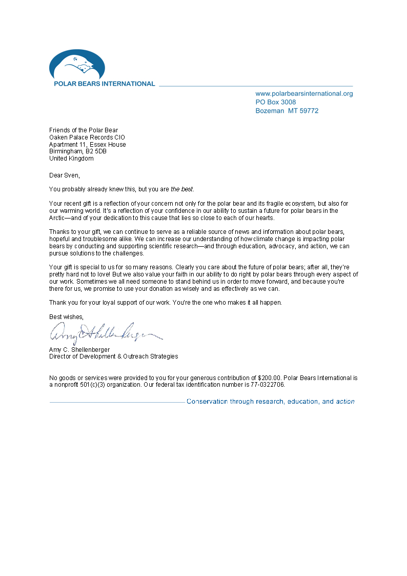 Polar Bears International Thank You Letter 2