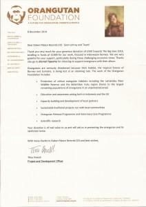 Orangutan Foundation Donation