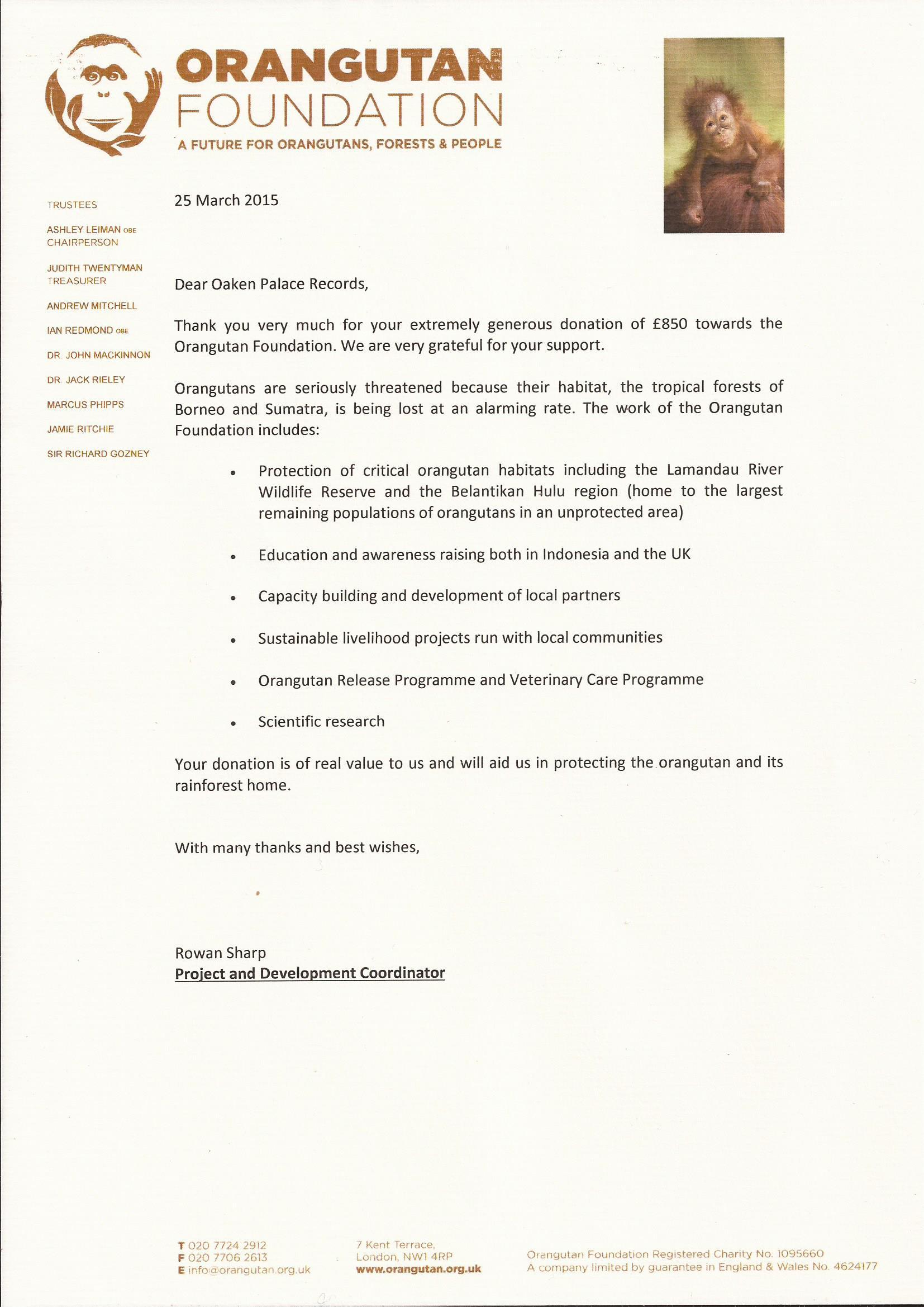 Orangutan Foundation Donation 2